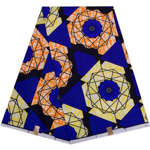 6 ярдов / серия Африканская ткань синий фон Анкара Полиэстер Farbic Для шитья ткань печати воска конструктором Yard