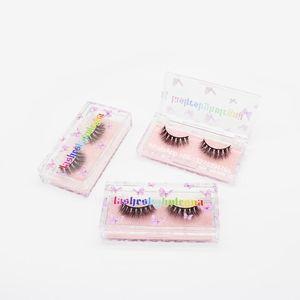 Transparent Acrylic Lash Case With Tray Handmade 20mm Crisscross Mink Eyelashes Custom Mink Lashes Packaging Box With Your Logo