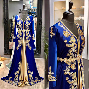 Royal Blue Moroccan kaftan Evening Dresses Long Sleeve Gold Beaded Crystal Floor Length Satin Muslim Prom Dress 2021 Arabic Special Occasion