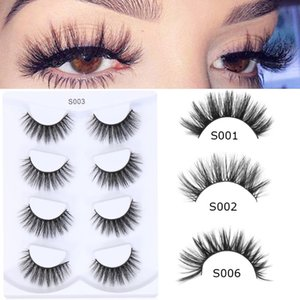 New 4 pairs 10mm-25mm 3D Fluffy Mink Fake Lashes Short Messy Wispy Natural False Eyelashes Handmade Eye Extension Makeup Tool