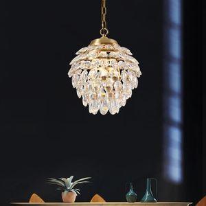 2020 Modern Crystal Restaurant Chandeliers Creative Copper Light Luxury Lamps Bedroom Bedside Entrance Entrance Hanging Lamp