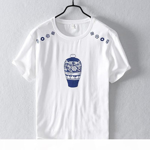 Men's Casual Cotton Linen Splice Short Sleeve T-Shirt Embroidery Printing O-neck Tops Fashion T shirt For Men Y2781