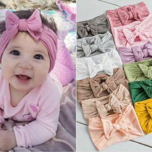 Baby Girl Turban Headband Soft Nylon Headwraps Bow Knot Headbands Stretchy Hair Bands Children Little Girls Fashion Hair Accessories DHC4915