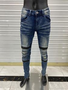 Mens Calças Skinny Jeans Light Wash Rasgado Calças Longo Com Zíper Fly Mosco Motorcycle Rock Revival Jeans Jogadores True Religiões