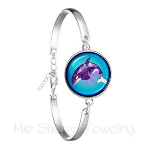 Hermoso patrón de Dolphin pulsera de cristal redondo de moda sirena 18mm cristal de la bóveda plateada plata para el regalo hermoso brazalete