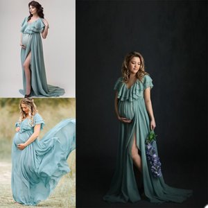 2021 Chiffon Maternity Dresses Side Split Women Long Robes Formal Evening Party Gowns Photo Shoot V Neck Jackets Custom Made