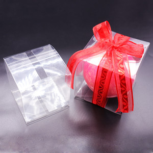 50pcs Transparent Square Candy Box Souvenir PVC Chocolate Gift Packaging Box For Baby Shower Birthday Wedding Event Party Hot Y1202