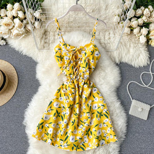 Vintage 2020 slim Boho spaghetti strap sexy floral print Jumpsuit lace up Women Short Summer Playsuit Beach Holiday Romper