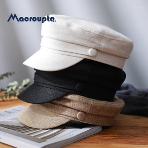 Women's Hat Flat Cap Cap Spring Autumn Linen Octagonal Solid Color Flat Top Hats Young Student Hat Female1