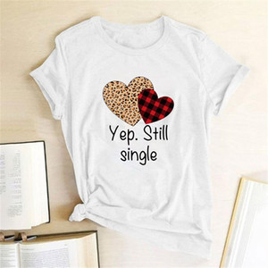 Leopard Plaid Heart Yep. Still Single Printing T-shirts Women T Shirt Summer Tops Women Casual Harajuku Camisetas Mujer Verano