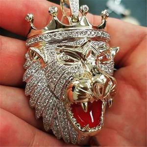 hip-hop influx of men and men's diamond necklace lion head crown pendant