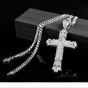 retro silver cross charm pendant full ice out cz simulated diamonds catholic crucifix pendant necklace with long cuban chain