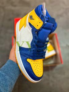 1 Haute OG WMNS Zoom Chaussures de sport de première classe Vol de première classe Mens Yellow Blue Femmes 1S Designer Sneakers Formateur