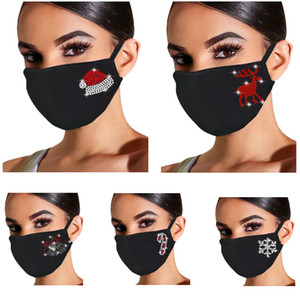 Diamond Cotton Chrismtas Mask Adult Fashion Personality Dustproof Breathable Black Mask For Reindeer Snowflake Santa Clause DHB3586