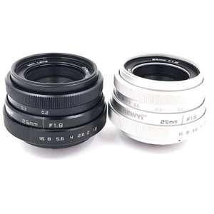Brand New 25mm F1.8 Camera Lens,Mini CCTV C Mount Wide Angle Lens for Sony for Nikon Canon DSLR Silver & black