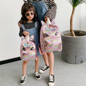 Unicorn الترتر للأطفال الأطفال أكياس مدرسية للمراهقات حقيبة الظهر الكرتون لطيف الظهر كبير mochila infantil q1129