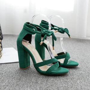 2020 Women Sandals Summer Lace-Up Fashion High Heels Peep Toe Shoes Female Square Heel Green Black Size Ladies Sandals