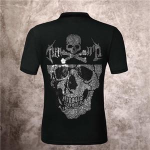 Europa 2021 Verão Phillip Liso Crânio cabeça Quente Diamante Imprimir Slim Fit Meia Manga Polo Camisa De Manga Curta T-shirt Para Homens