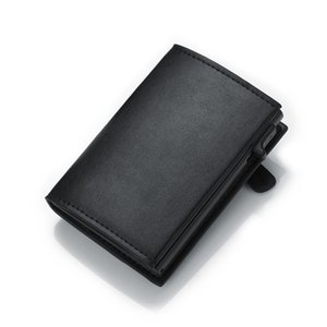 Dienqi RFID card titolare da uomo portafoglio sacchetto di soldi maschile nero corto borsa 2020 cerniera piccola trifold sottile sottile mini wallet magico pop up c1223