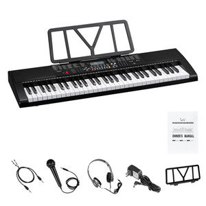 Glarry GEP-106 61 Key Portable Piano with Speakers Headphone Microphone Music Rest LCD Screen USB 3 Teaching Modes for Beginners Black