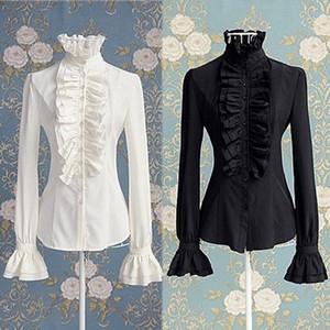 Викторианские женские топы высокие шеи оборками с длинным рукавом излишки сплошной цвет рубашки офис фриллы манжеты блузка осень топы женские горячие