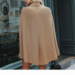 Designer Women Pullover Sweaters Bat Sleeve High Collar Knitted Women Casual Winter Solid Color Female Cloak