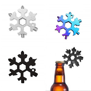 18 In 1 Snowflake Wrench EDC Tool Gear Stainless Steel Outdoors Multi Function Bottle Opener Key Chain Colourful Screwdrivers Portable 4tp M
