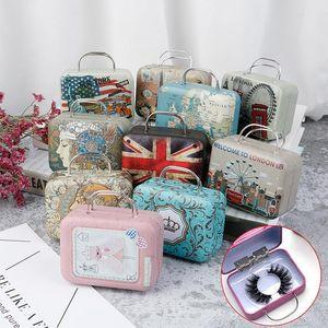 1Pcs Steel Suitcase Empty Fake Lash Storage Packaging Box Eyelash Luggage Case