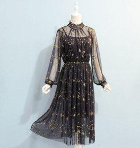 The new Korean version of the waist dream starry sky embroidery long-sleeved lace mesh dress first two-piece suit