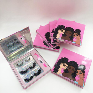 New Eyelash Book Packaging with Eyelash Tweezers 3 Pairs Different 3D 5D 25mm Mink Eyelashes Lashes Box