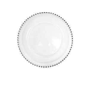 27cm Round Bead Dishes Glass Plate with Gold  Silver  Clear Beaded Rim Round Dinner Service Tray Wedding Table Decoration GGA3206 141 G2