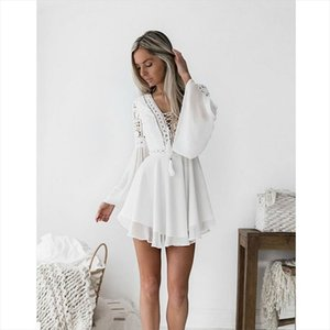 new Girls White Summer Bohemian Mini Dress Women Fashion Spring Solid White Mini Lace Casual Clothes V neck Long Sleeve Dresses
