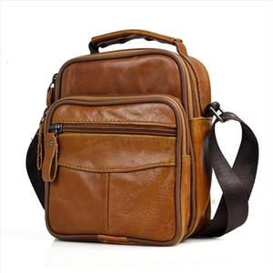 Small Mini Men Genuine Leather Messenger Bag Briefcase Male Leather Handbag Brand Brown Boy Shoulder Bag