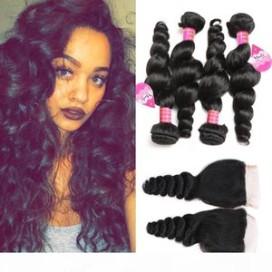 Brazilian Loose Wave Hair Weaves 4 Bundles with Closure Free Middle 3 Part Double Weft Loose Deep Wave Wavy Virgin Human Hair Extensions