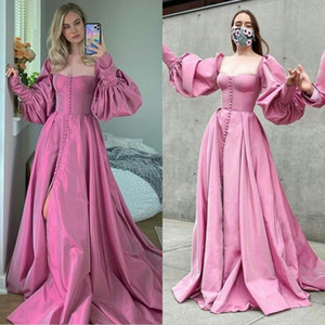2021 Pink Evening Gowns Long Sleeves Button Sweep Train A Line Prom Dresses Front Slit Ruffles Vestidos Formal Robe De Soirée