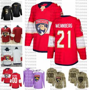 2021 Customize 21 Александр Уеннберг Флорида Пантеры Пантеры Golden Edition Camo Ветераны Дневные бои рак Пользовательские сшитые хоккейные изделия