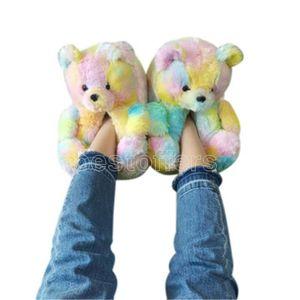Plush Teddy Bears House Slippers Brown Women Home Indoor Soft Anti-slip Faux Fur Cute Fluffy Pink Slippers Women Winter Warm Shoe FY7486