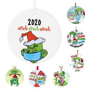 2020 Карантин Рождественский орнамент Grinch Stink Stank с маской Персонализированное подвесное окно висит украшение домашней вечеринки подарок