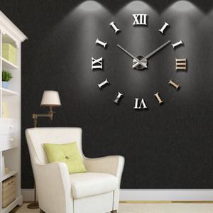 Nouvelle décoration de la maison Big 27 / 47inch miroir mural Horloge murale moderne design 3D bricolage grand bricolage mur horloge mural mural cadeau unique 201118