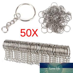 Посеребренные металлические пустые брелок брелок с разделенным кольцом ключ держатель клавиши кольца женщин мужчины DIY ключевые цепи аксессуары