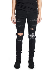 High Street Fashion Men's Black Color Destroyed Hip Hop Broken Punk Pants Patch Ny Ripped Jeans for Men