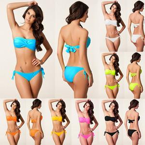 Fashion New Women's Bikinis Swimwear Sexy Strapless Pure Colour Lady's Two Piece Sets Beach Wear 2021