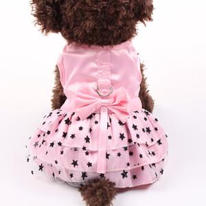 Small Dog Cat Wed Dress Shirt Bow&Stars Design Dog Dress Cute Pet Puppy Skirt Spring Summer Apparel 4 Colours