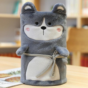 Student Roll Blanket Keep Warm Home Portable Comfortable Microfiber Office Bed Throws Soft Plush Cartoon Shape Winter Foldable