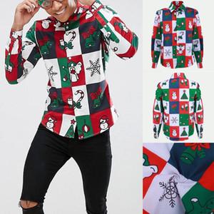 THEFOUND 2020 Fashion Christmas Men's Long Sleeve Slim Fit Shirt Casual Shirts Tops Shirt Hot