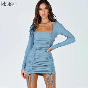 KLALIEN fashion elegant solid cotton women dress 2020 autumn new long sleeve Drawstring mini bodycon dress party vacation ladies J1214