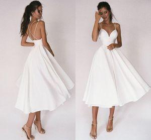 Sexy Short Wedding Dress 2021 Thin Straps Criss Cross Simple V Neck Satin Bridal Dresses A Line Vestidos De Noiva Bride Gown
