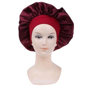 1pc Adjust Solid Satin Bonnet Hair Styling Cap Long Hair Care Women Night Sleep Hat Silk Head Wrap Shower Cap Styling Tools