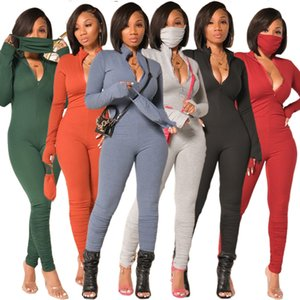 Europe and America wind tight women's solid color pleated pants slim sexy one-piece pants 2020 New Autumn And Winter Long sleeve jumpsuit