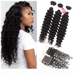 Brazilian Deep Wave Bundles with Closure 10A Brazilian Virgin Hair Wet and Wavy Human Hair Weave with Lace Closure Free Middle 3 Part